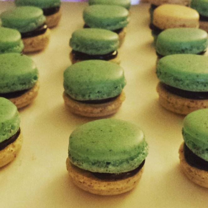 Mini macarons filled with chocolate ganache that I made a couple of days ahead.
