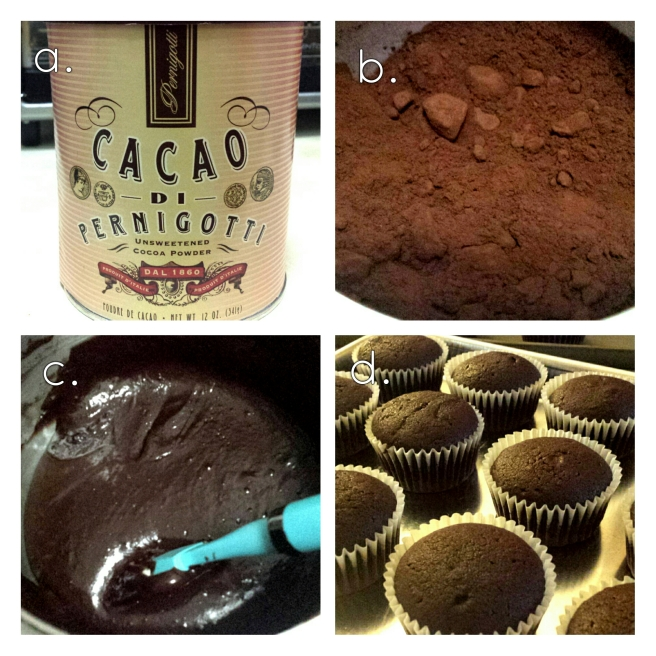 a. Pernigotti cocoa packaging (12 oz.); b. The cocoa has a deep reddish-brown color. c. My cupcake batter made with this luxe cocoa. d. The resulting cupcakes, cooling from the oven.